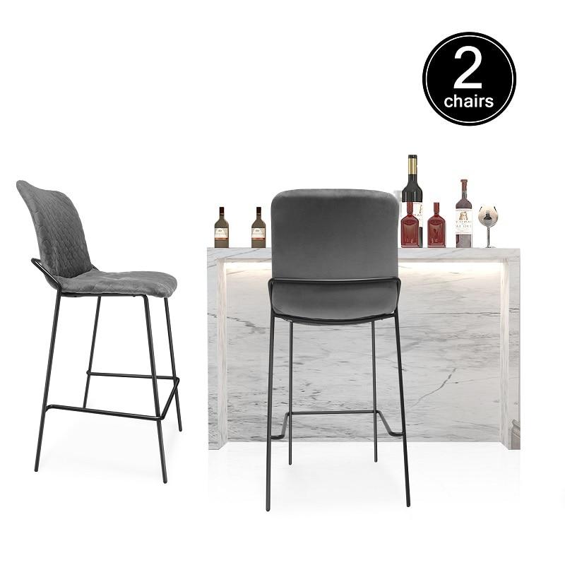 madeira buttoned mid century modern dark teal fabric club chair 2pcs/set Bar chair Home cafe bar table chair backrest fabric high stool Light luxury modern style