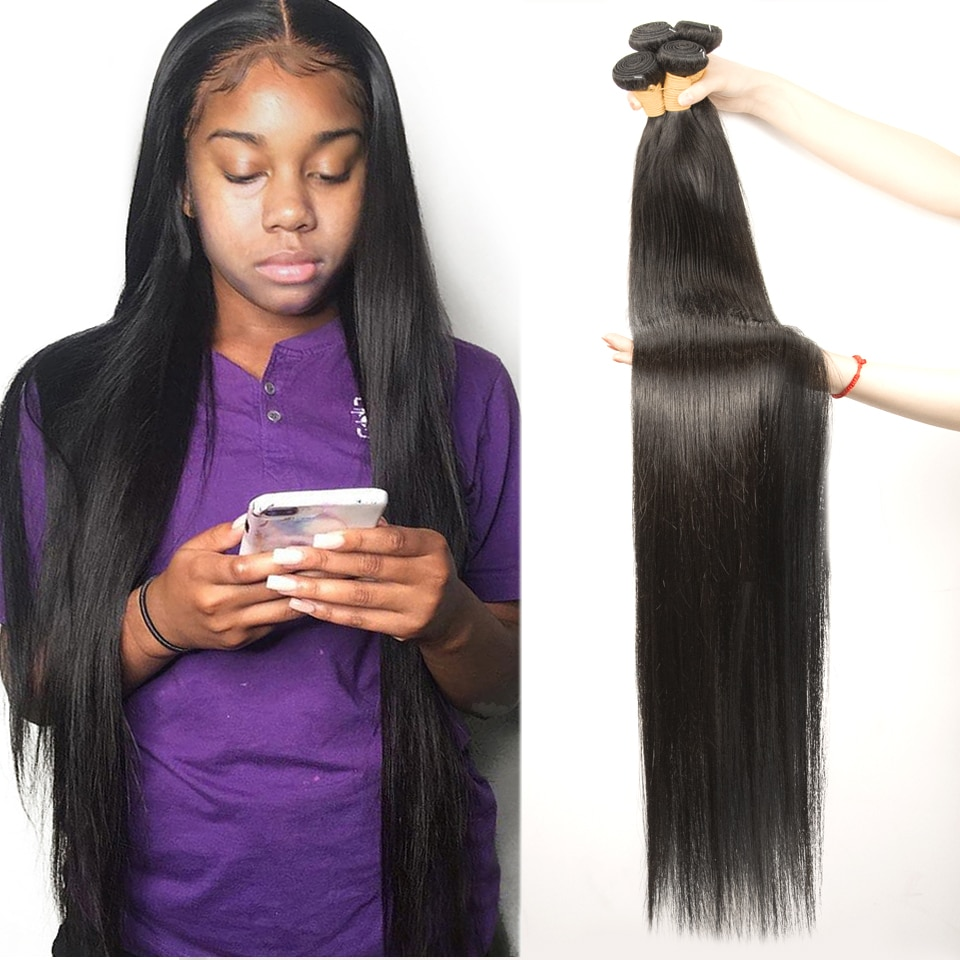 Fashow 30 32 34 36 40 inch Indian Hair Straight Hair Bundles 100% Natural Human Hair Bundles Double