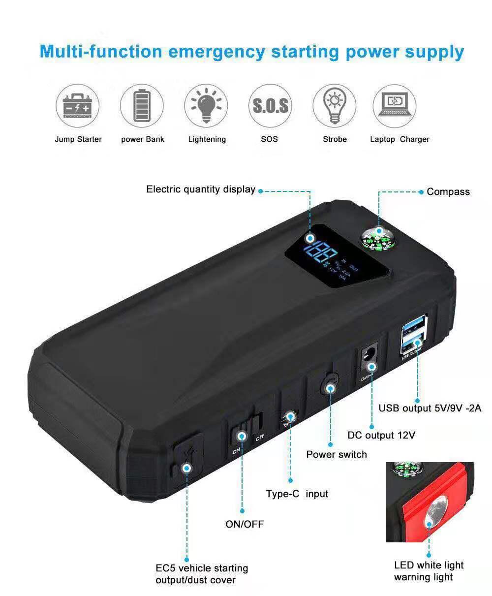 18000mAh1000A 1200A super potencia portátil multifunción coche batería booster carga rápida smartphone USB