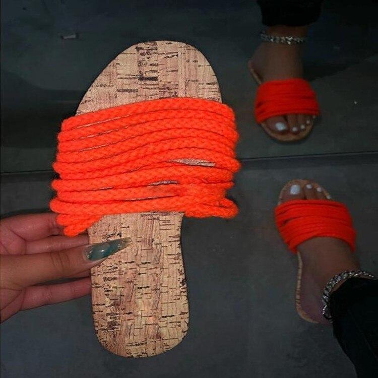 Zapatillas de talla grande para mujer, novedad de verano 2020, sandalias de cuerda de cáñamo de suela plana, sandalias con palabras de color sólido X192