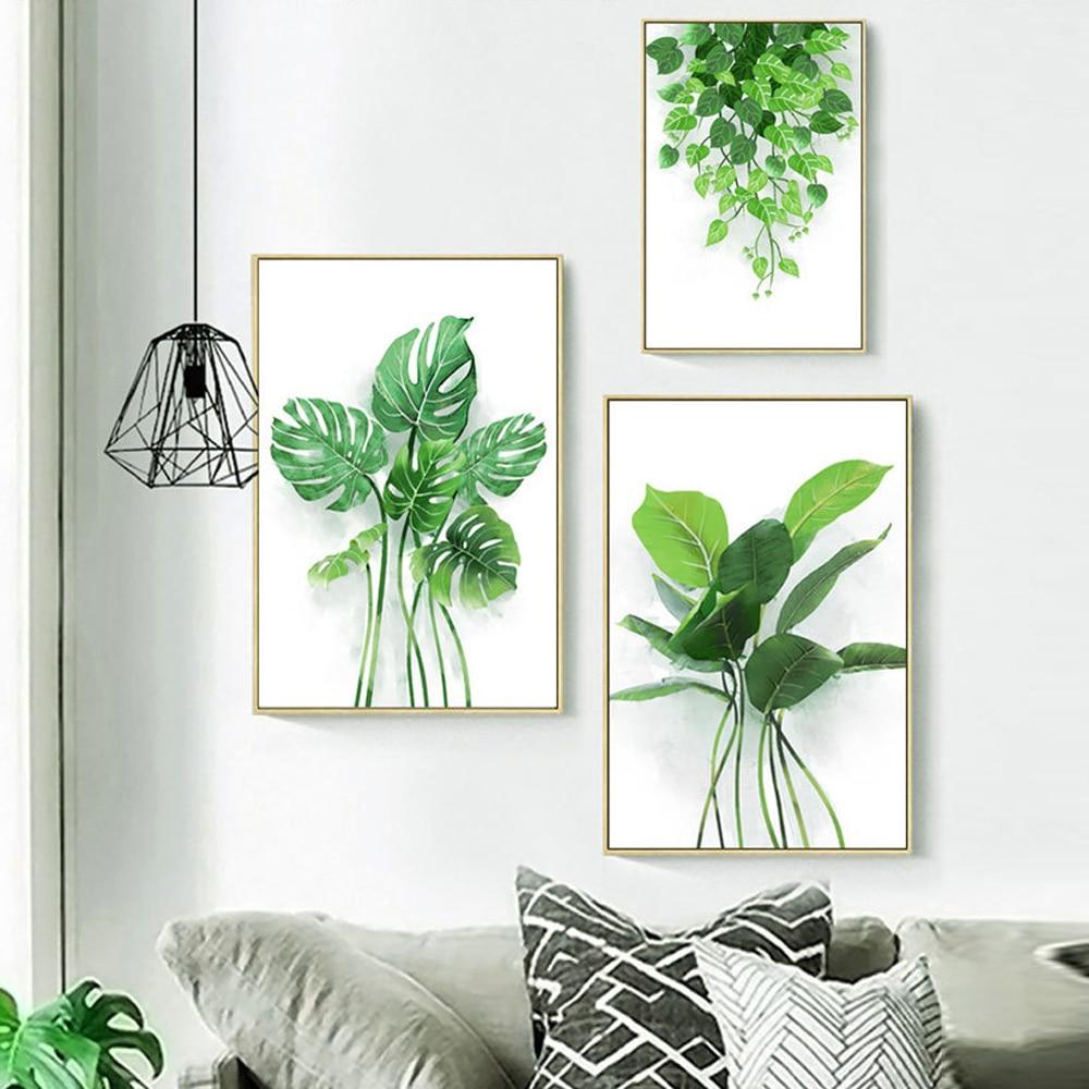 Pequeno fresco verde planta pintura da lona nordic minimalista folha aranha planta posters arte parede fotos para sala de estar decoração casa