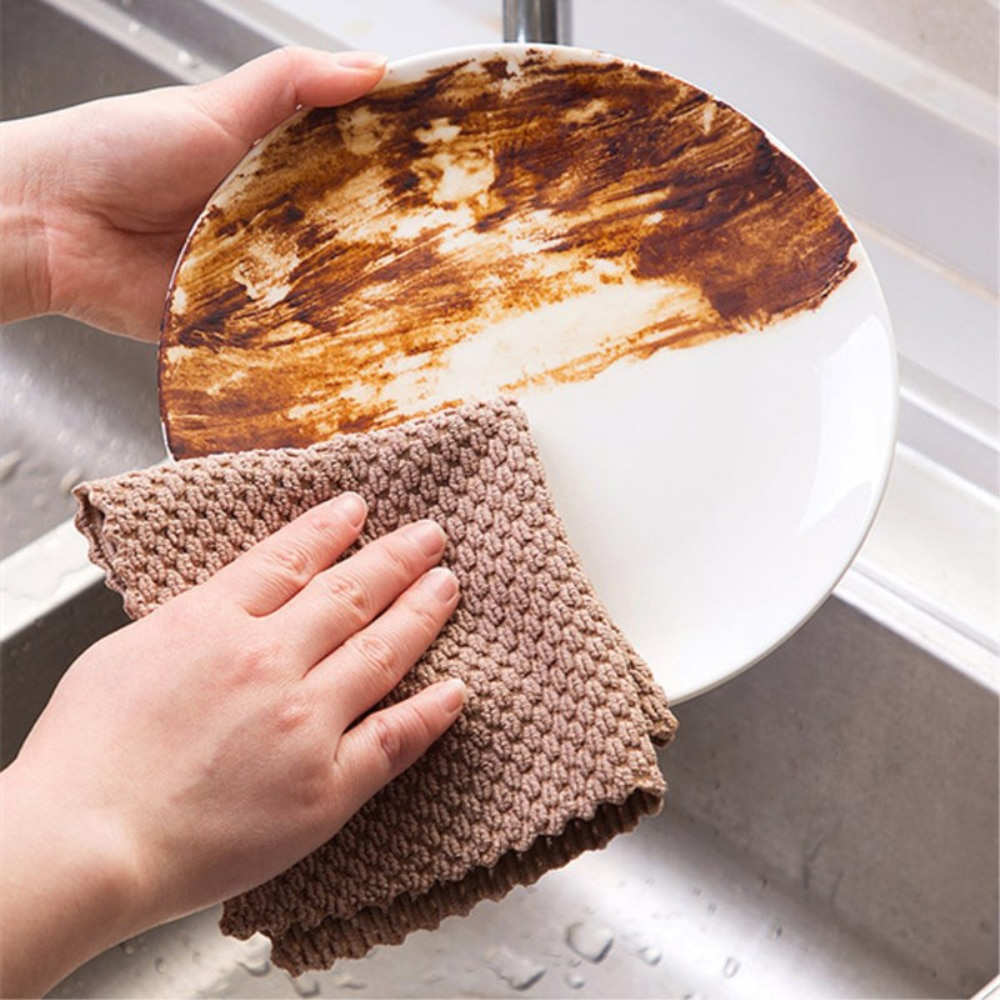 5pcs kitchen anti grease washing dish cloth wiping rags super absorbable window glass cleaning cloth microfiber cleaning towel Kitchen Anti-grease wiping rags efficient Super Absorbent Microfiber Cleaning Cloth home washing dish kitchen Cleaning towel