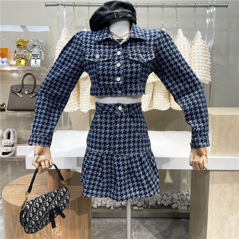 New 2021 Blue Thousand Bird Check Short Long Sleeve Coat + High Waist Stitched Ruffle A-shaped Skirt Fashionable Spice Girl Suit