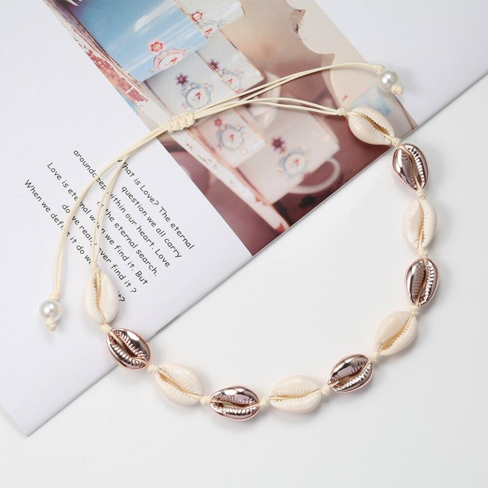 Alta quantidade concha colar conchas naturais colares feminino jóias mão malha concha gargantilha colar festa de praia meninas presente