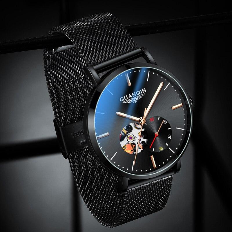 Automático para Homem Relógio de Pulso Casual à Prova Guanqin Relógio Mecânico Luxo Dwaterproof Água Safira Preto Azul Branco Dial