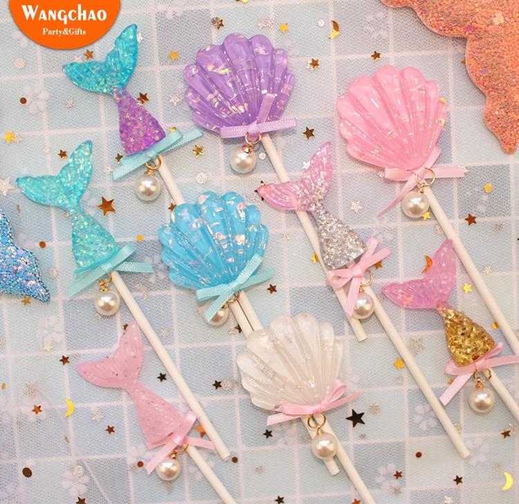 Kawaii de bebé Cupcake para la ducha Topper hielo crema niños Topper para tarta de feliz cumpleaños suministros de fiesta de sirena belleza pastel Decoración