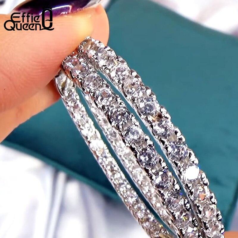 Effie Queen женские большие круглые серьги-кольца Роскошные кубические циркониевые винтажные вечные круглые петли Серебряная Сережка ювелирные изделия DE137