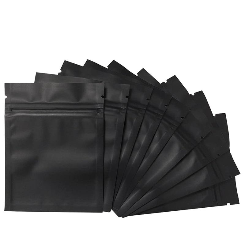100 Pack Geruch Proof Taschen-3x4 Zoll Wiederverschließbaren Mylar Beutel Folie Tasche Tasche Flache Reißverschluss-tasche matte Schwarz