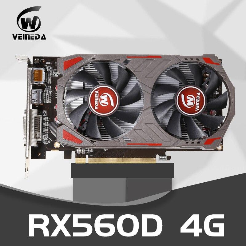 Видеокарта VEINIDA RX560D 4 ГБ GDDR5 128 бит PCI-E 3,0 HDMI DisplayPort DVI-D 1176/6000 МГц для nVIDIA Geforce Games