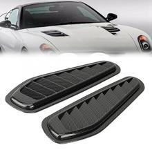 2 adet karbon Fiber tarzı araba hava akış emme dekoratif Scoop Bonnet Vent Hood kapak Hood Scoop