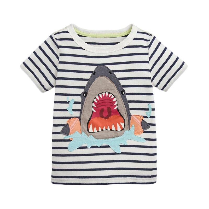 Little maven Shark Pattern Ropa para niños Camiseta de verano para niños Ropa para niños Ropa de manga corta de algodón Camiseta para niños