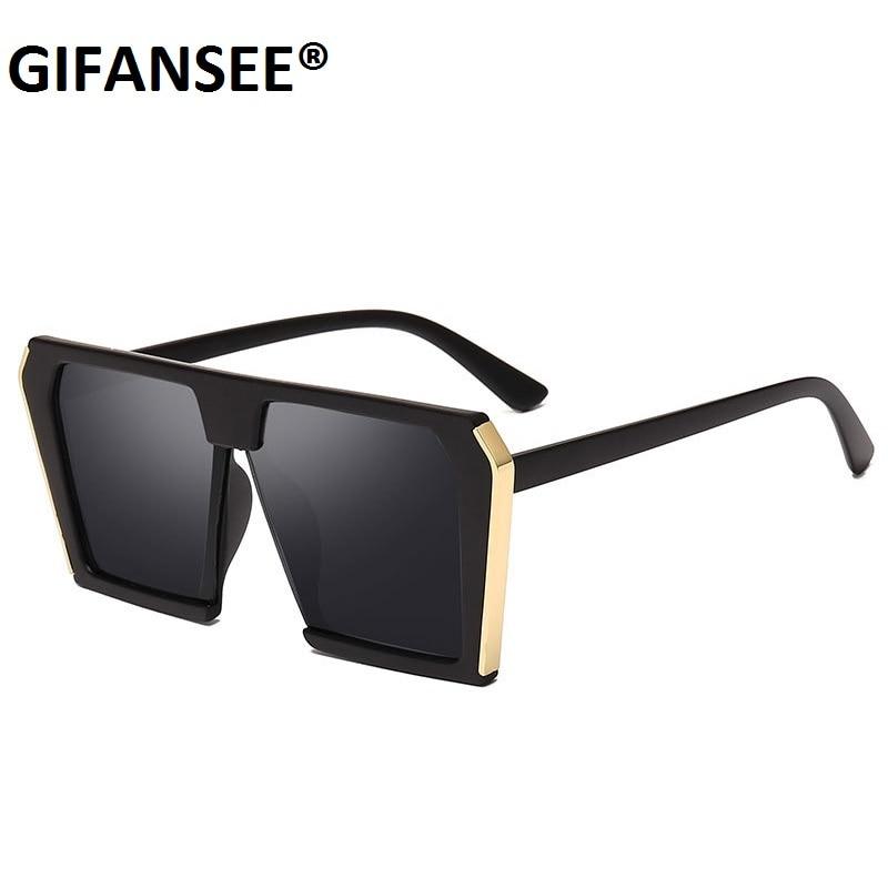 GIFANSEE cuadrado de gran tamaño gafas de sol de las mujeres hombres, diseñador de marca, con marco grande gafas mujer tonos de mujer UV400 espejo Vintage
