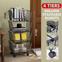Carrello di rotolamento a 4 livelli rack di stoccaggio carrello di rotolamento frutta verdura Snack Basket Organizer con ruota universale per cucina