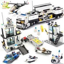 HUIQIBAO 536 pièces poste de Police camions de Prison blocs de construction ville voiture bateau hélicoptère policier briques enfants jouets enfants cadeau