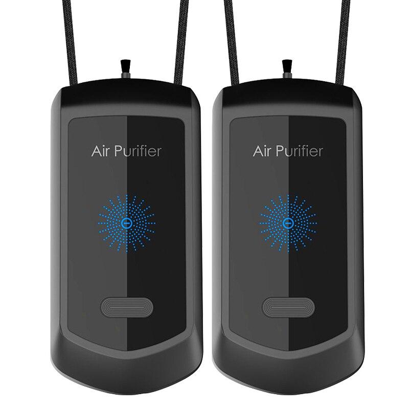 2 قطعة الرقبة معلقة لتنقية الهواء الشخصية يمكن ارتداؤها سيارة صغيرة محمولة الأكسجين بار مولد الأيونات السالبة لتنقية الهواء
