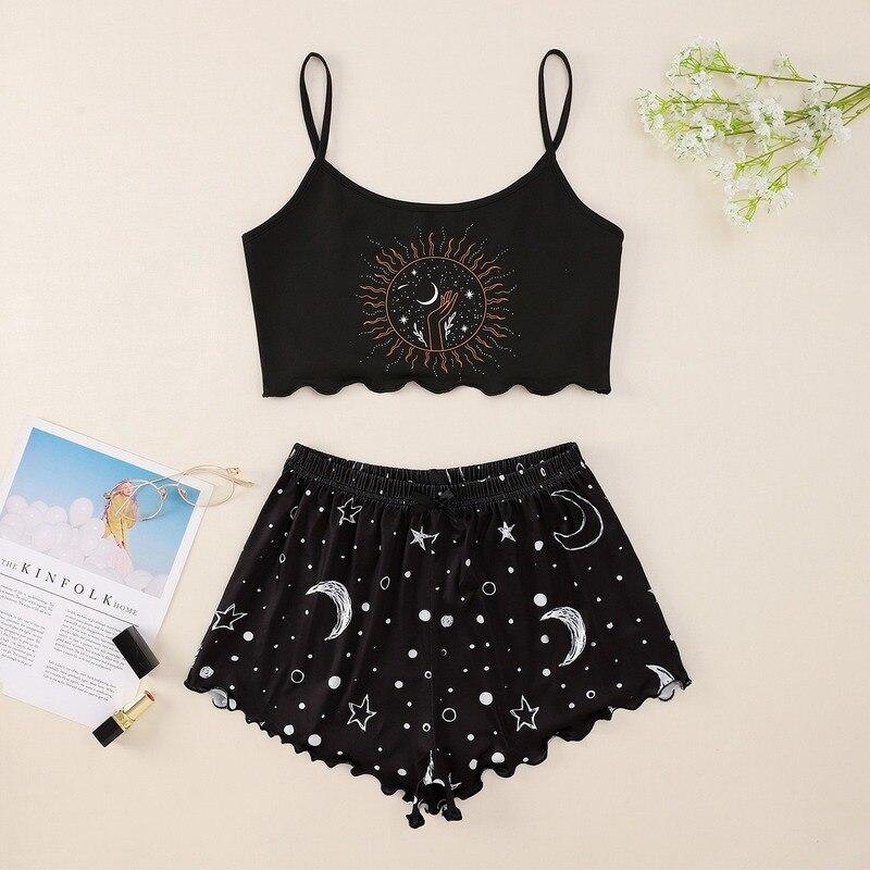 Пижамный комплект для девочек из 2 предметов, осенняя Женская одежда для сна, ночная рубашка с длинным рукавом, женское сексуальное нижнее белье, пижамы|Комплекты пижам|   | АлиЭкспресс