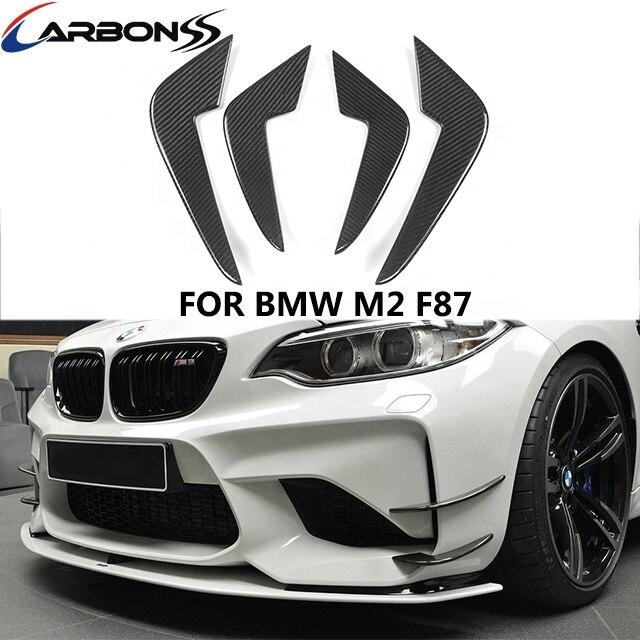Carbon Fiber Auto Parts Front Bumper Trims Canards For BMW F87 M2 enlarge