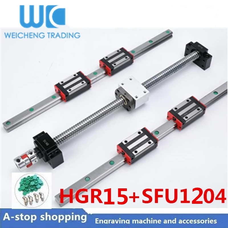 HR15 مربع الخطي دليل السكك الحديدية 2 قطعة t HGR15 + كتلة HGH15CA HGW15CC + SFU1204 الكرة المسمار 4 مللي متر الرصاص + BK10BF10 cnc خطي المحرك