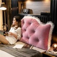 tongdi home soft lace large pillow back cushion long elastic backrest multifunction luxury decor for girl bedside seat bed sofa