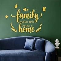 Autocollant Mural miroir en acrylique 3D  citation pour la maison  decoration pour le salon