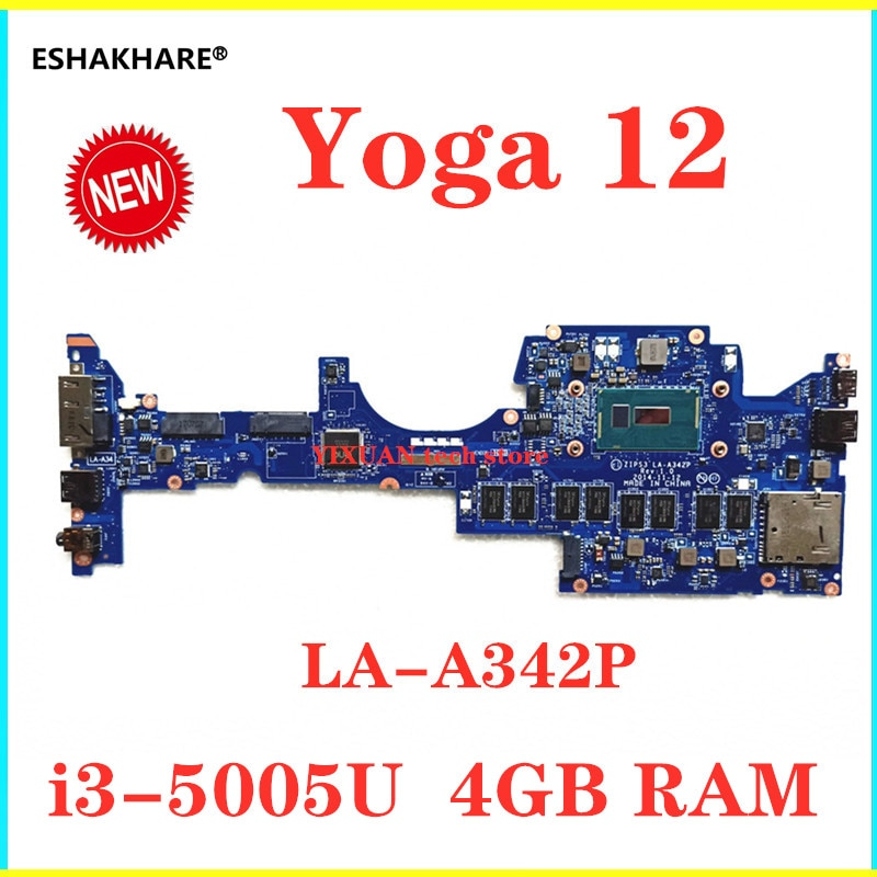 Para Lenovo Yoga 12 S1 notebook placa base ZIPS3 LA-A342P Placa base con i3-5005u CPU 4G RAM original a estrenar, envío gratis