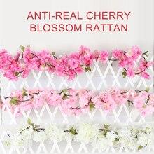 180cm plantas artificiales para la decoración flores rosas artificiales vid otoño caña telón de fondo decoración seda falso mimbre Garland Dropship
