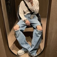 summer american style brand ripped jeans mens straight loose oversize popular dark blue unisex cropped pants fashion casual