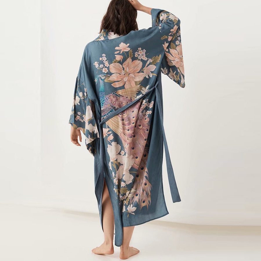 2019 Autumn Kaftan waterfall Robe deep blue Floral print Kimono sleeve Boho cardigan Side Slits Gypsy blusa  women blouses Beach
