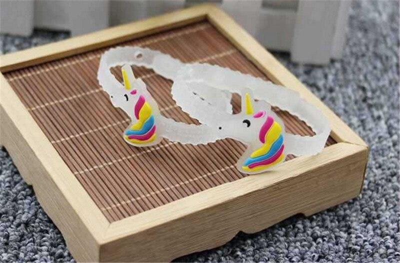 Wholesale 200pcs/lot DIY anime cartoon PVC soft bangle glow in the dark silicone bracelet unicorn sports wristband