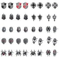 aoedej punk cz stone stud earrings for men stainless steel hip hop skull ear studs rock roll jewelry accessories