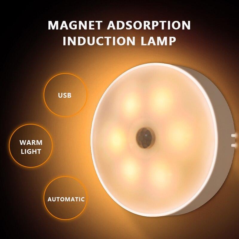 Светодиодный ночсветильник с датчиком движения, фонарь с USB-зарядкой для спальни, лестницы, дома, коридора, ночсветильник