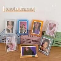 3inch acrylic desktop photo frame transparent photocards display magnetic desk decoration photo holder student stationary