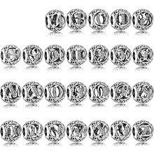 Nouveau 100% 925 en argent Sterling vingt-six lettres perles breloque idéal pour Bracelet bricolage Bracelet pour femmes bijoux en gros usine