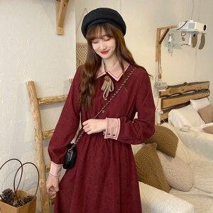 2020 New Autumn Elegant Autumn and Winter Red Waist-Controlled Slimming Long Sleeve Maxi kawaii clothing sweet lolita dress