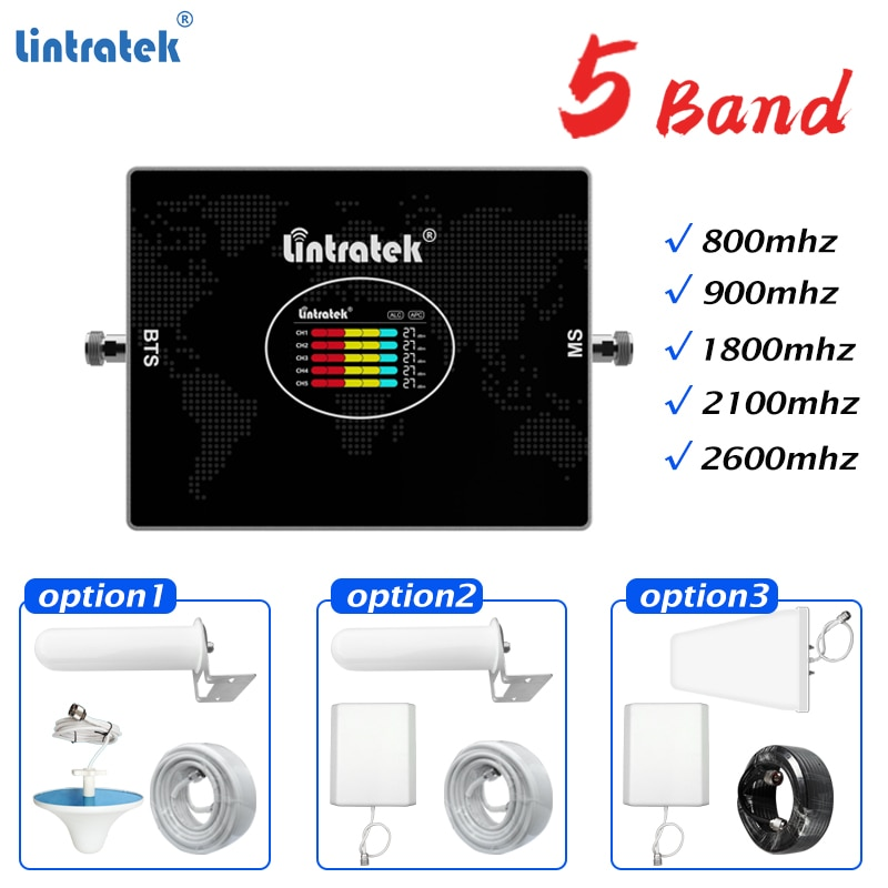 4G Cellular Amplifier 800 GSM 900 DCS 1800 WCDMA UMTS 2100 LTE 2600mhz 2G 3G 4G Repeater Mobile Phone Signal Booster#Lintratek
