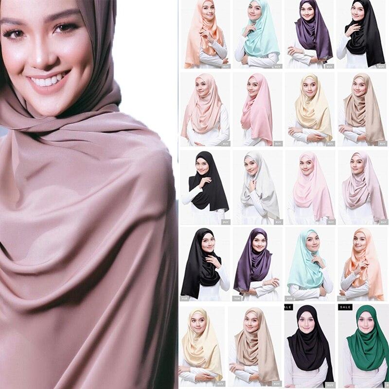 10 pcs feminino luxo grande cor matte cetim lenço de seda xale primavera outono xale para senhoras solider cor hijab cachecol
