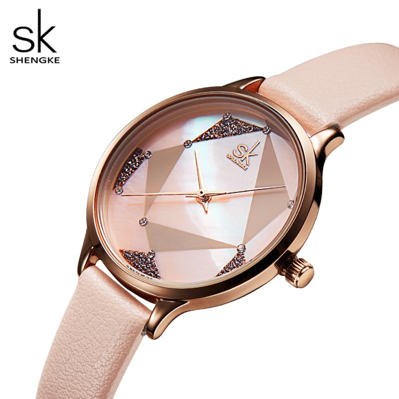 Shengke топовый бренд модные женские часы с кожаным ремешком женские кварцевые часы креативный стиль женские наручные часы Reloj Mujer