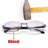 Очки для чтения унисекс без оправы, бифокальные, с защитой от сисветильник, диоптрии + 150 TR90
