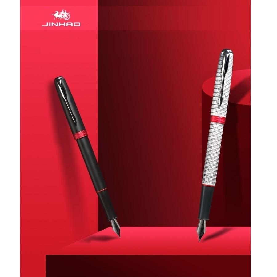 JINHAO 601A Color rojo negro elegante pluma de cobre Penh 0,5mm Punta fina caligrafía de negocios Oficina escuela suministros H6488