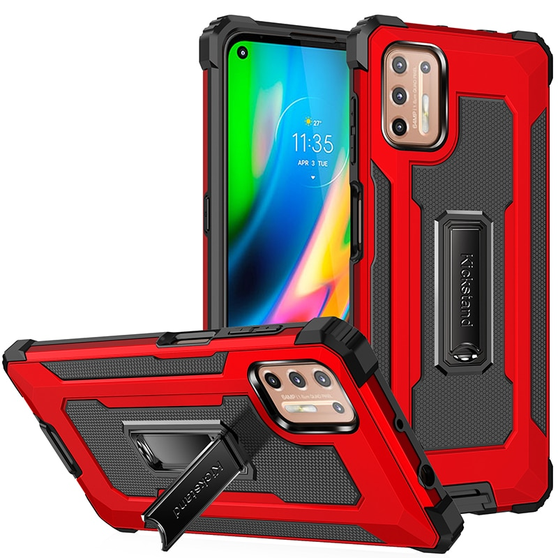 Phone Case For Moto G Fast E7 E 2020 Cases Shockproof Armor Holder Cover For Moto G9 Plus Power Play Protective Covers Bumper
