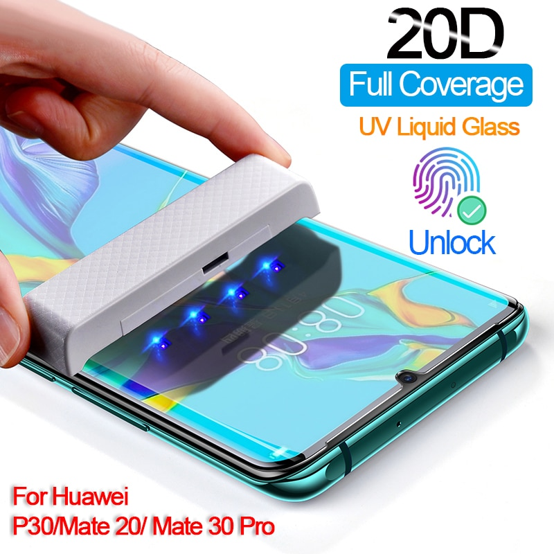 Protector de pantalla de pegamento UV para Huawei Mate 30 20 Pro cubierta completa de vidrio templado para Huawei Honor Mate 20 Pro P30 Lite película de vidrio UV