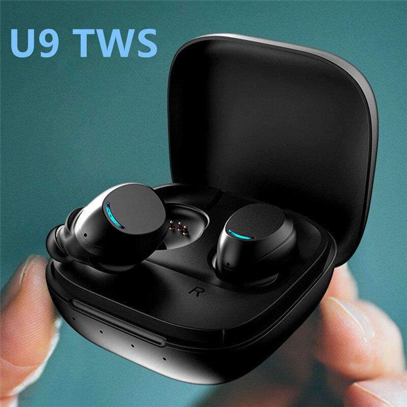 Fones de Ouvido sem Fio Fone de Ouvido Fones de Ouvido Livres com Microfone Caixa de Carregamento Bluetooth Invisível In-ear Estéreo Música Mãos u9 Tws 5.0