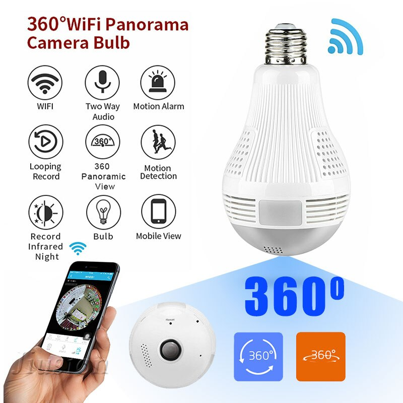360 Graus Bulbo Wi-fi Mini Câmera HD 960P CCTV Panorâmica Visão Noturna Detecção de Movimento de Vigilância Em Casa Monitor de Controle Remoto Micro cam