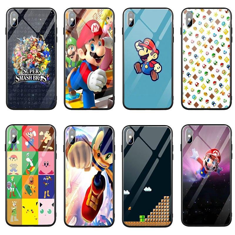 Fundas de teléfono móvil de vidrio templado para iPhone 7 Plus 10 8 6 5 5S SE 2020 6S Plus fundas divertidas Super Mario Bros setas
