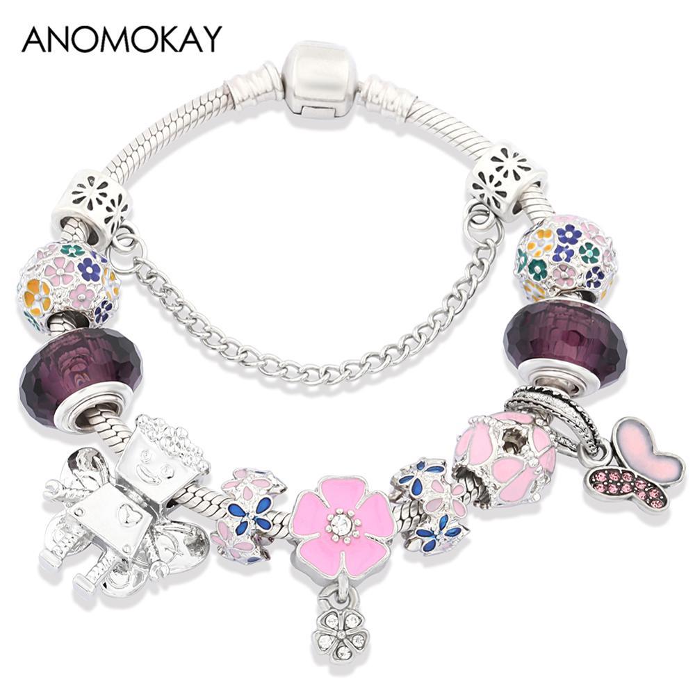 Anomook novo colorido flor charme pulseira para as mulheres menina bonito borboleta flor fada grânulo pulseiras moda jóias navio da gota