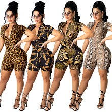 Zoctuo Girls Jumpsuit Short Sleeve Deep V-Neck Leopard Print Bodycon Jumpsuit Fashion Sexy Slim Romp