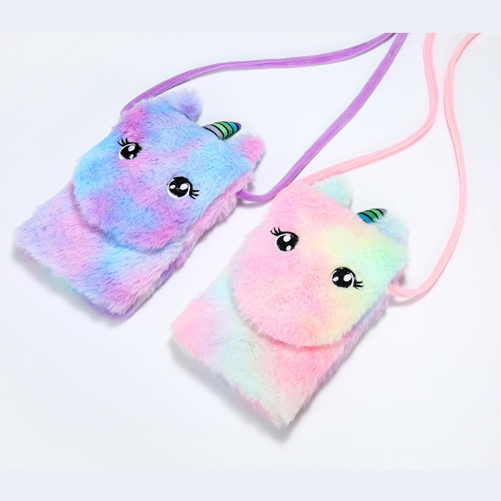 Lovely Girls Shoulder Bag Cute Unicorn Baby Mini Handbags Rainbow  Plush Children Crossbody Colorful Phone Pouch