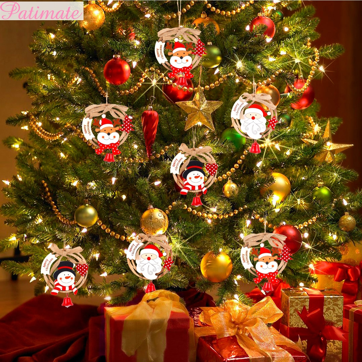 Decoración de madera Feliz Navidad para el hogar DIY ornamento de Navidad decoraciones de árbol de Navidad Deco Noel Navidad 2019 regalo de Año Nuevo