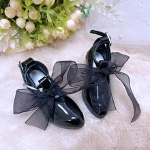 MUZIWIG 1/3 BJD/SD Doll Shoes DIY Doll Accessories Fashion Black Pink High Heels Lace Shoes For Doll
