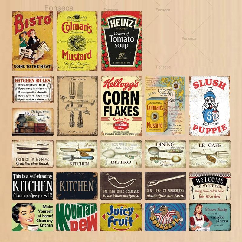 Кухонный металлический знак, металлический винтажный Ретро-знак для кухни, домашний декор для столовой, настенные металлические знаки